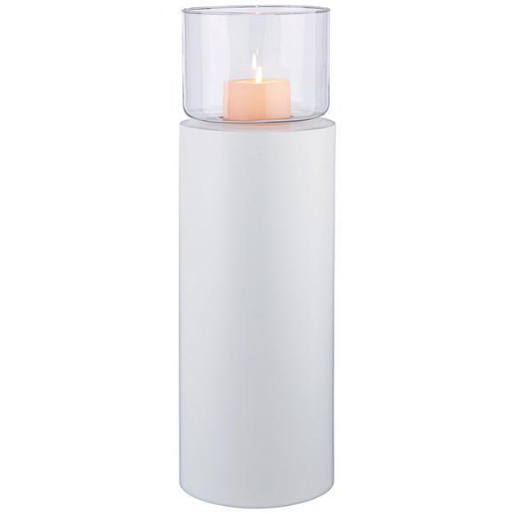 Windlicht Fire on Tower Weiß - Klar/Weiß, Glas/Metall (23/52cm) - Mömax modern living