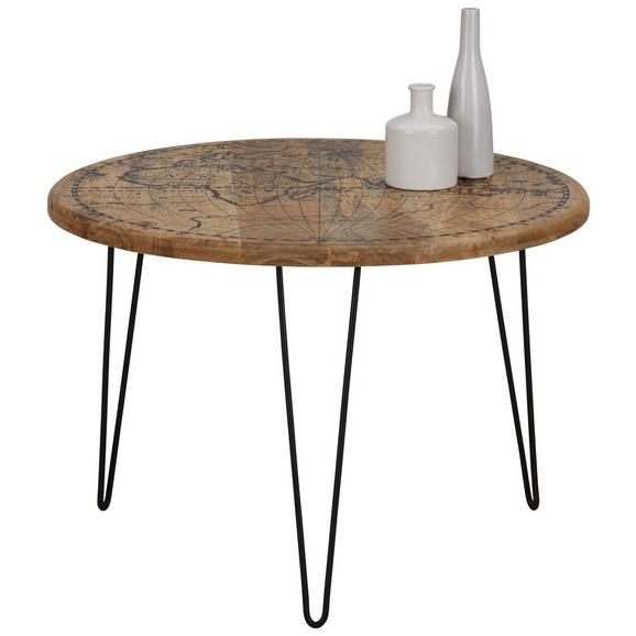 Beistelltisch Schwarz/Naturfarben - Multicolor/Schwarz, LIFESTYLE, Holz/Metall (65/45cm) - Modern Living