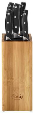 Messerblock Rösle 6-teilig - Silberfarben/Schwarz, KONVENTIONELL, Holz/Kunststoff - Rösle