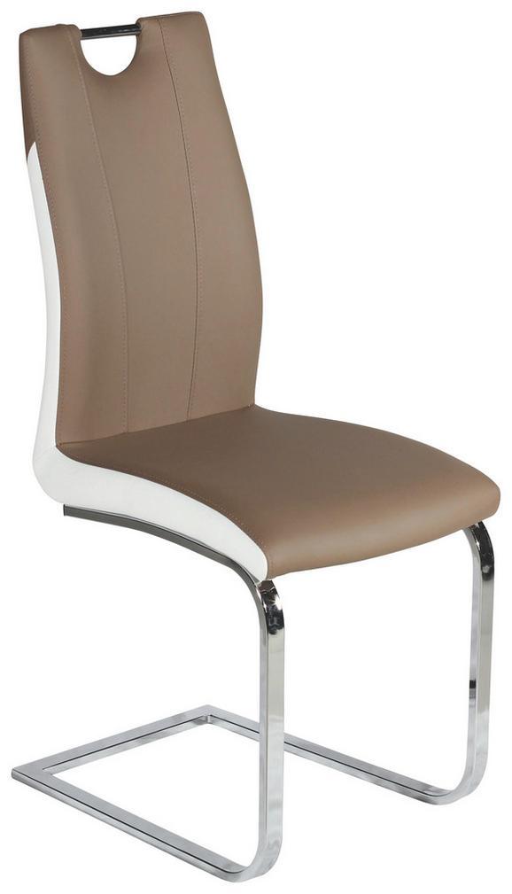 Schwingstuhl in Braun/Weiß - Braun/Weiß, MODERN, Kunststoff/Textil (44/101/58,5cm)