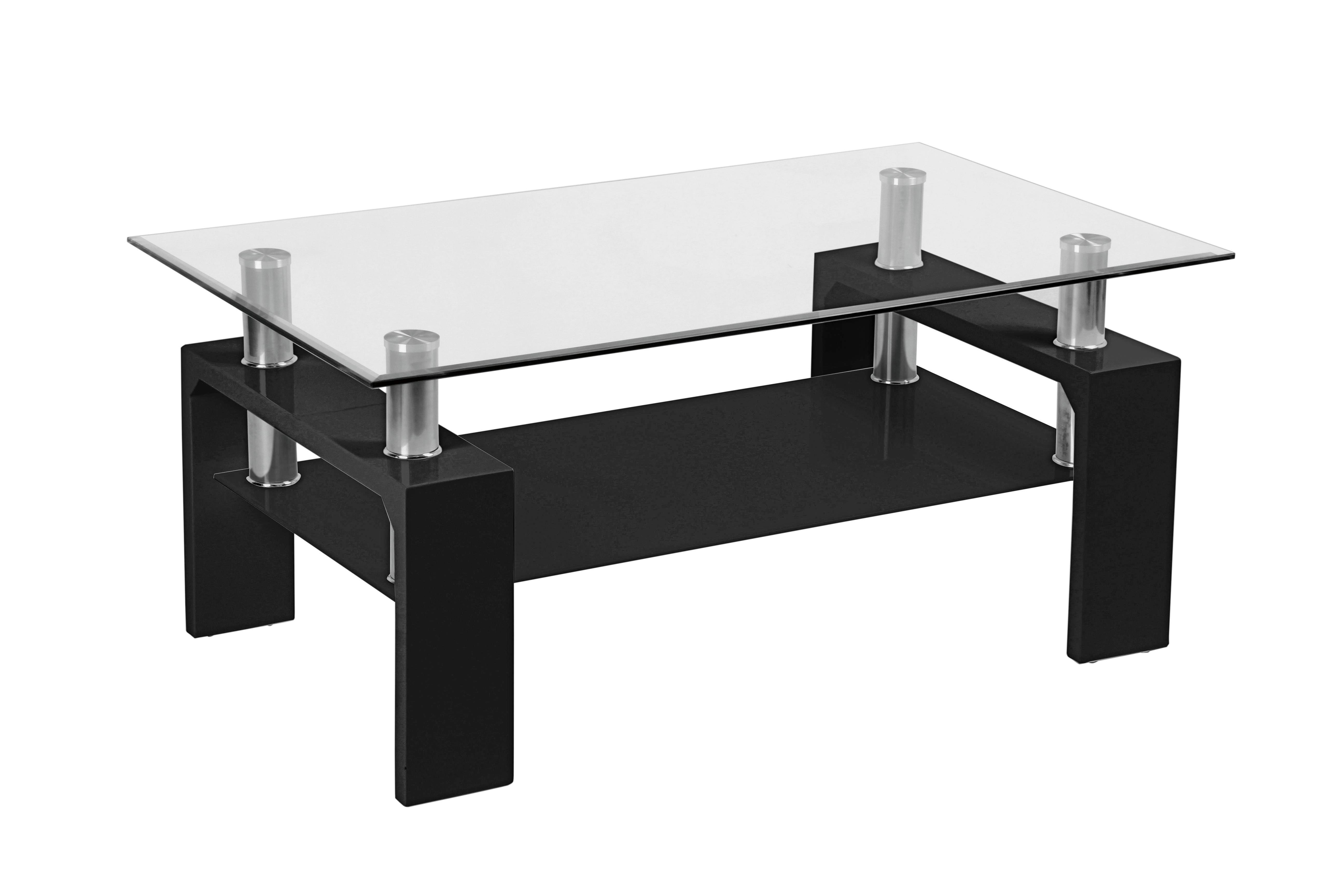DOHÁNYZÓASZTAL SILVIA - fekete/tiszta, modern, üveg/faanyagok (100/45/60cm)