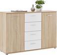 Kommode Weiß/Sonoma Eiche - Silberfarben/Weiß, MODERN, Holzwerkstoff/Kunststoff (132/91/38cm) - Mömax modern living
