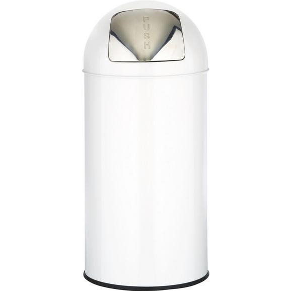 Abfalleimer Push Can Weiß/edelstahl - Edelstahlfarben/Zinkfarben, Metall (29,3/66cm) - Mömax modern living