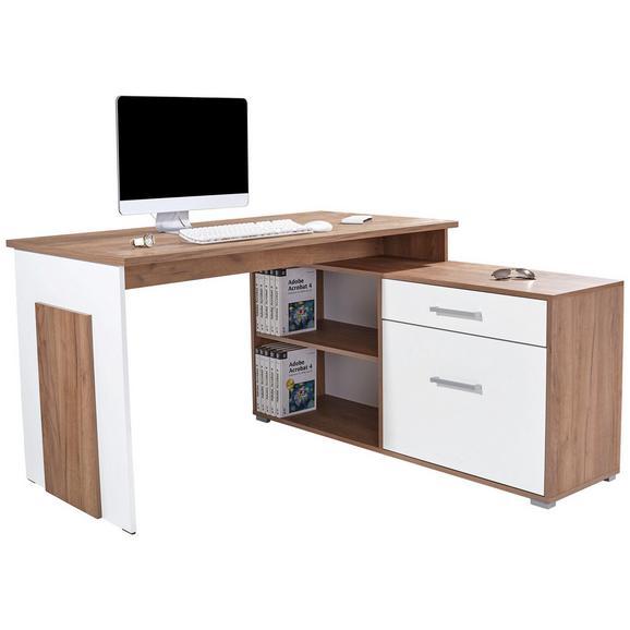 Kotna Pisalna Miza Ludwig - bela/hrast, Moderno, umetna masa/leseni material (140/76/130cm) - Mömax modern living