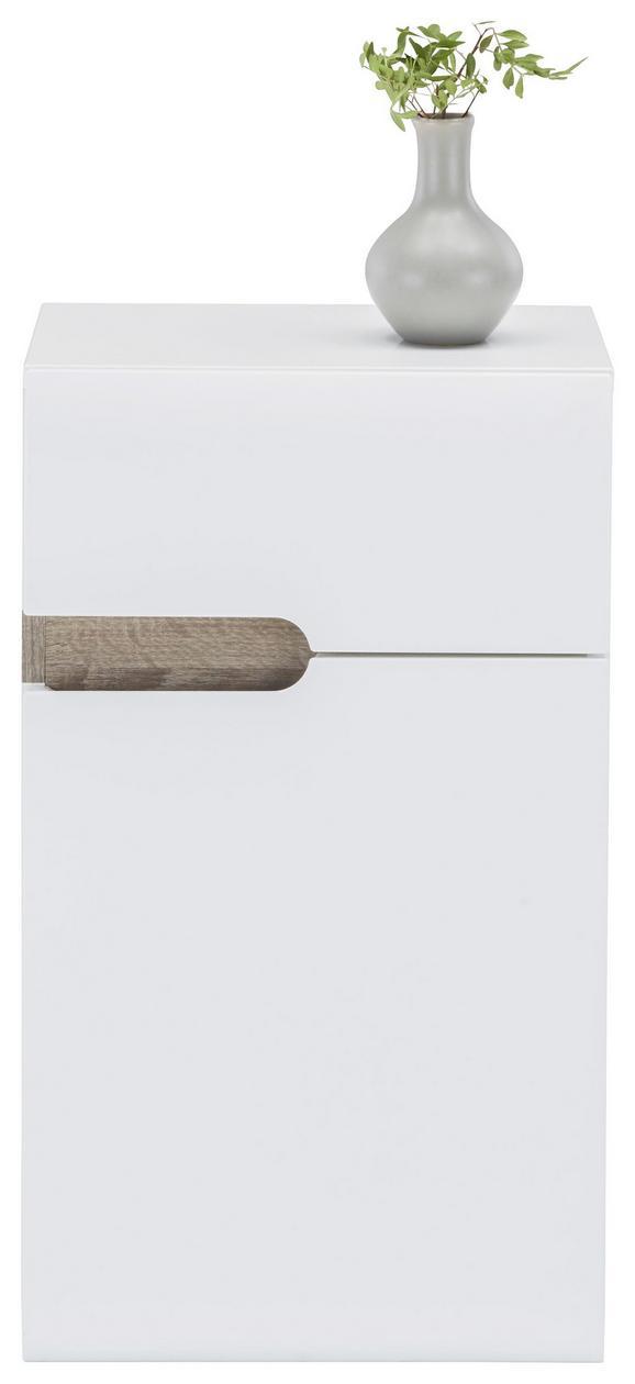 Unterschrank Weiß Hochglanz/Eiche - MODERN (40/68,5/31cm)
