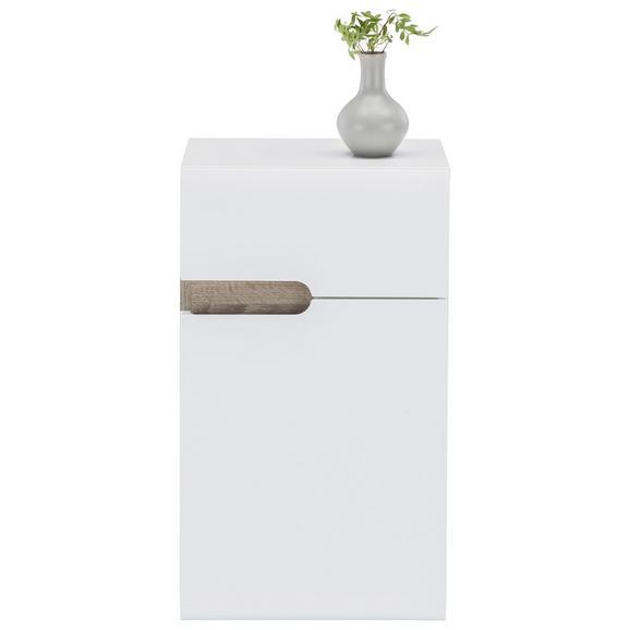 Unterschrank Weiß Hochglanz/Eichefarben - MODERN (40/68,5/31cm)