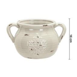 Dekokrug in Grau H ca. 16 cm 'Euphoria' - Grau, ROMANTIK / LANDHAUS, Keramik (27,5/21/16cm) - Bessagi Home