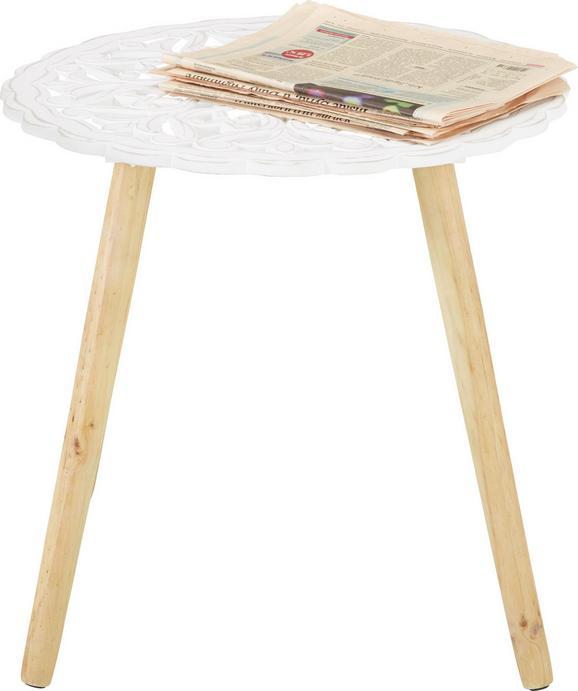 Beistelltisch in Weiß - Weiß/Naturfarben, Holz/Holzwerkstoff (55/55/51cm) - MÖMAX modern living