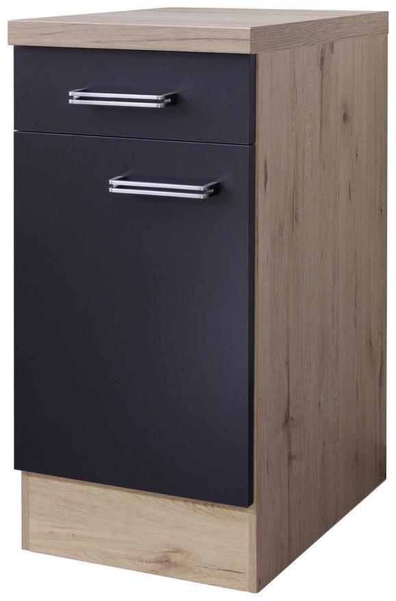 Küchenunterschrank Anthrazit/Eiche - Edelstahlfarben/Eichefarben, MODERN, Holzwerkstoff/Metall (40/86/60cm)