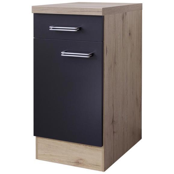 Kuhinjska Spodnja Omarica Milano - hrast/antracit, Moderno, kovina/leseni material (40cm)
