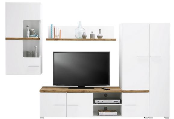 Wohnwand Weiß/Eichefarben - Klar/Chromfarben, MODERN, Glas/Holzwerkstoff (280/195/45cm) - MODERN LIVING