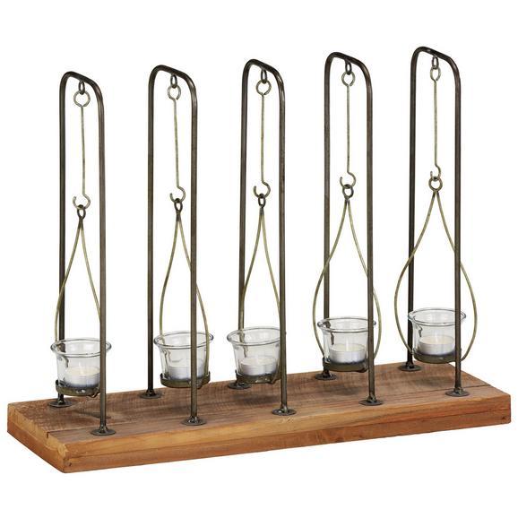 Teelichthalter Braun/Schwarz - Schwarz/Braun, ROMANTIK / LANDHAUS, Glas/Holz (50/38,5/17cm) - Zandiara