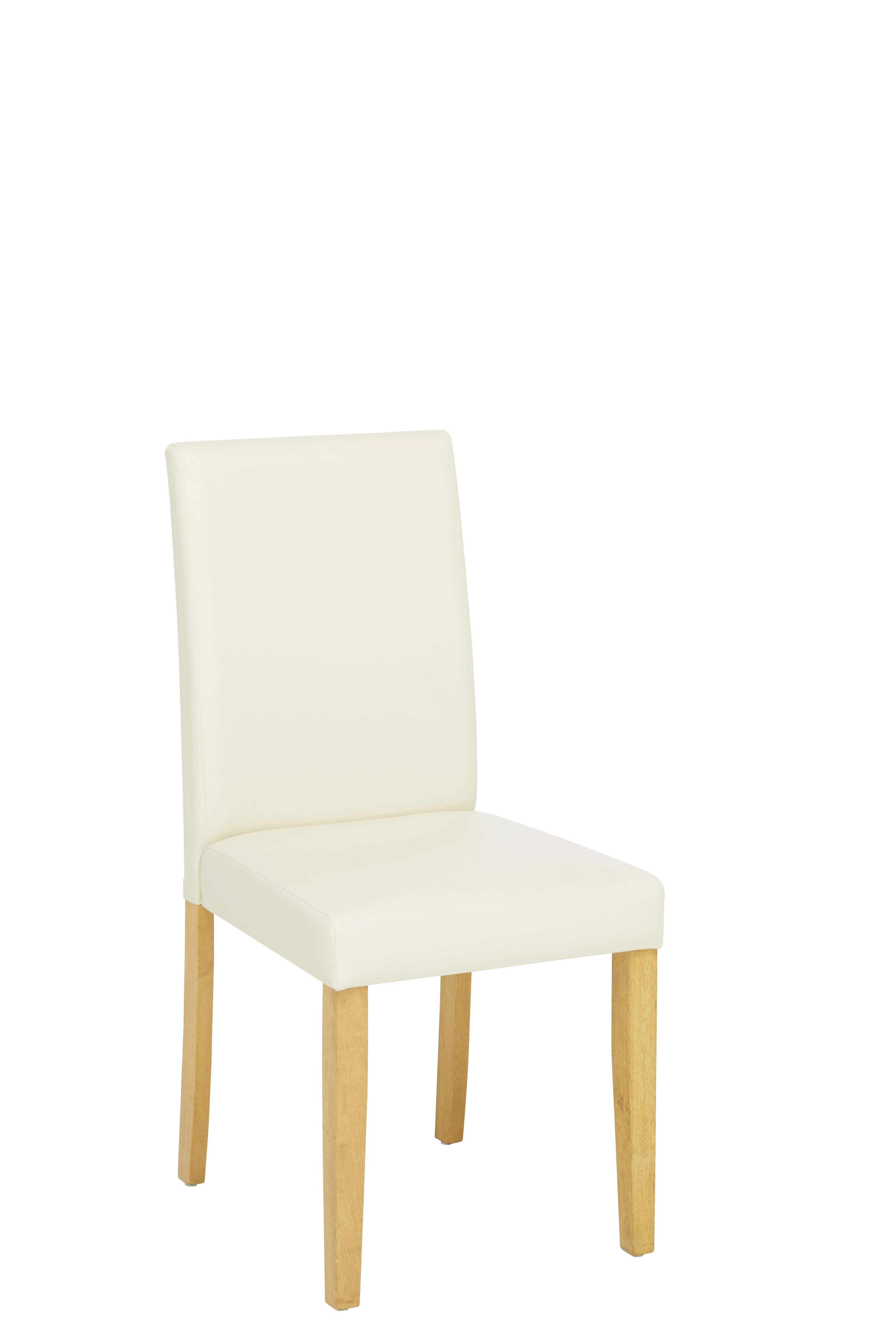 Stuhl in Creme/Eiche aus Holz - Eichefarben/Creme, KONVENTIONELL, Holz/Textil (45/95/55cm) - BASED