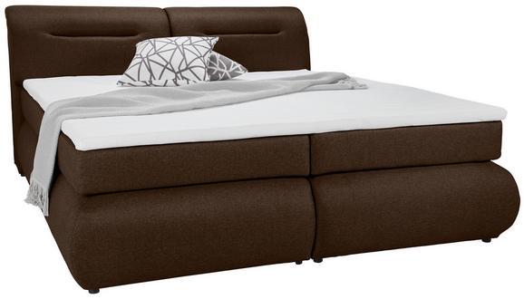 Boxspringbett Braun 180x200cm - Schwarz/Braun, Kunststoff/Textil (240/190/100cm) - Premium Living