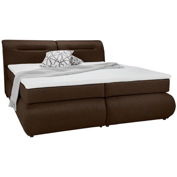 Boxspringbett in Braun ca. 180x200cm - Schwarz/Braun, Kunststoff/Textil (240/190/100cm) - Premium Living