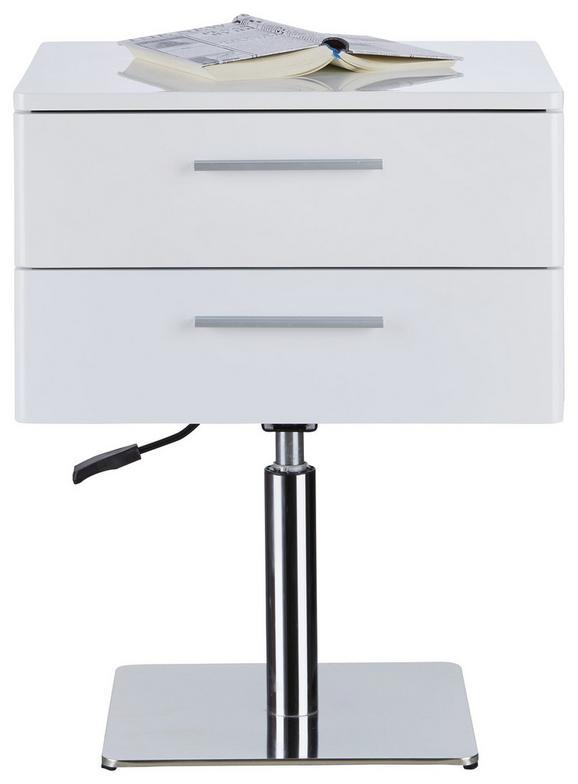 Nachtkästchen Weiß Hochglanz - Chromfarben/Weiß, Holzwerkstoff/Metall (50/62-76/40cm) - Premium Living