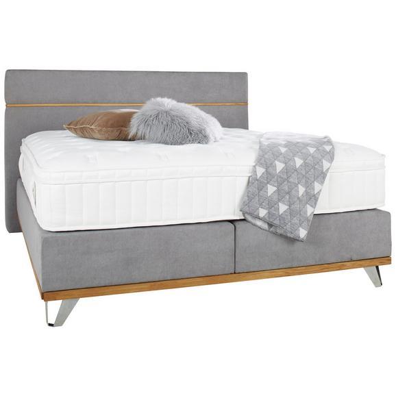 Boxspringbett in Grau ca. 160x200cm - Chromfarben/Grau, KONVENTIONELL, Holz/Metall (160/200cm) - Premium Living