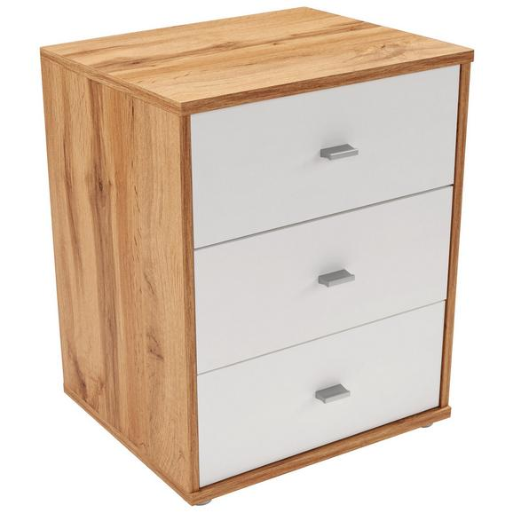 Nočna Omarica 4-you New - hrast/bela, Konvencionalno, umetna masa/leseni material (50/54,8/34,6cm)