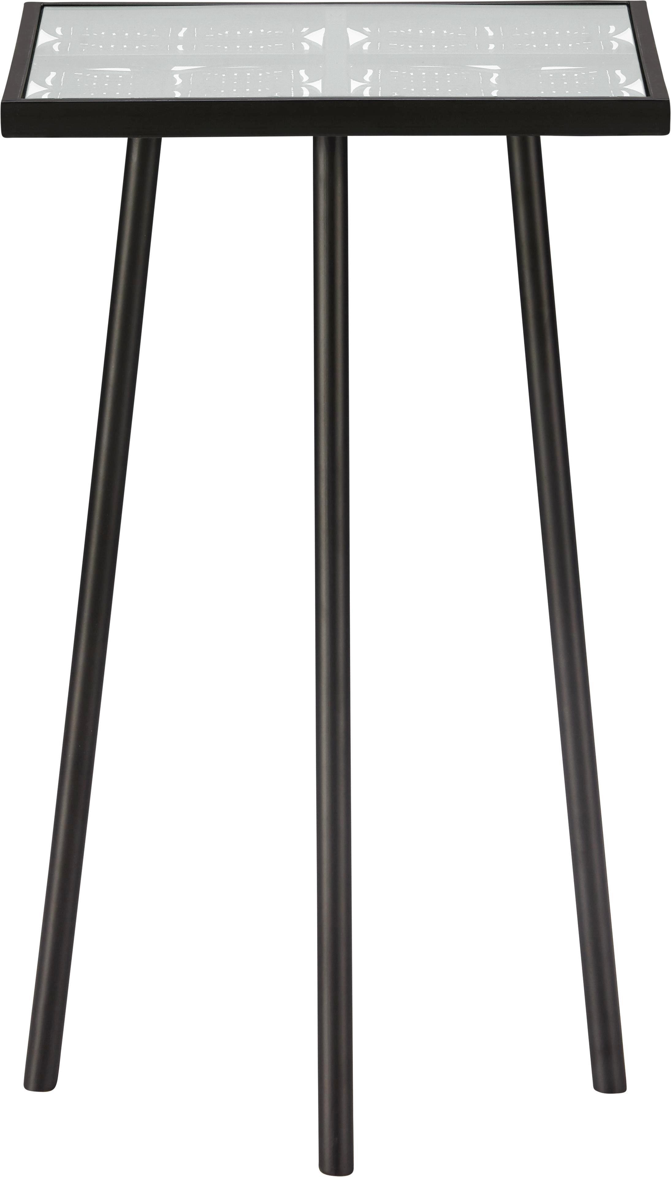 Beistelltisch in Schwarz mit Glas - Schwarz, Glas/Metall (35,5/60/35,5cm) - MÖMAX modern living