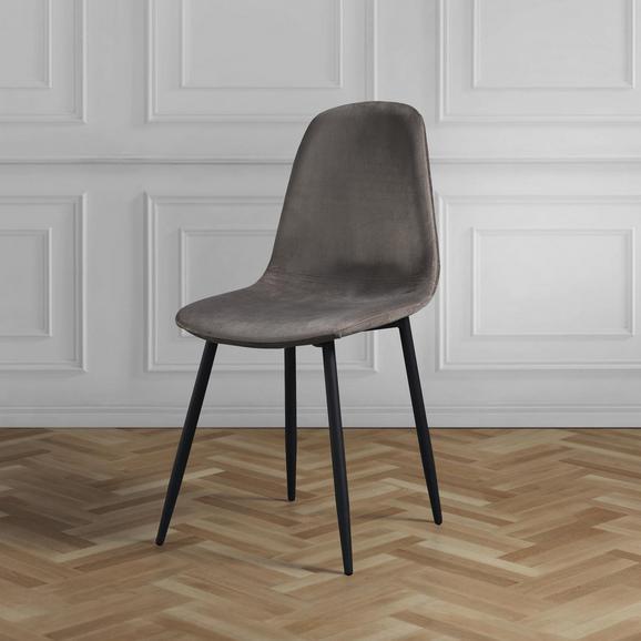 STUHL in Grau/Braun 'Ida' - Schwarz/Grau, MODERN, Holz/Textil (44/89/41,5cm) - Bessagi Home