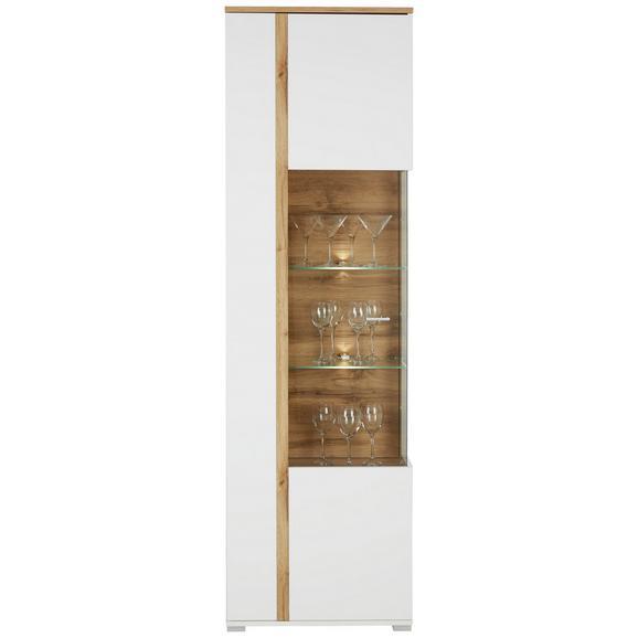 Vitrina Alamo - bela/hrast, Moderno, kovina/leseni material (60/201/37cm) - Modern Living