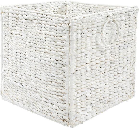 Regalkorb Bea in Weiß - Weiß, ROMANTIK / LANDHAUS, Weitere Naturmaterialien/Metall (33/32/33cm) - Zandiara