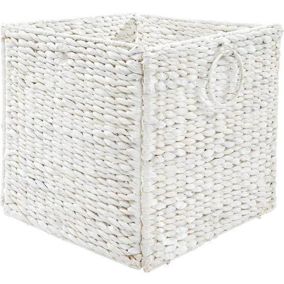Regalkorb Bea Weiß - Weiß, ROMANTIK / LANDHAUS, Weitere Naturmaterialien/Metall (33/32/33cm) - Zandiara