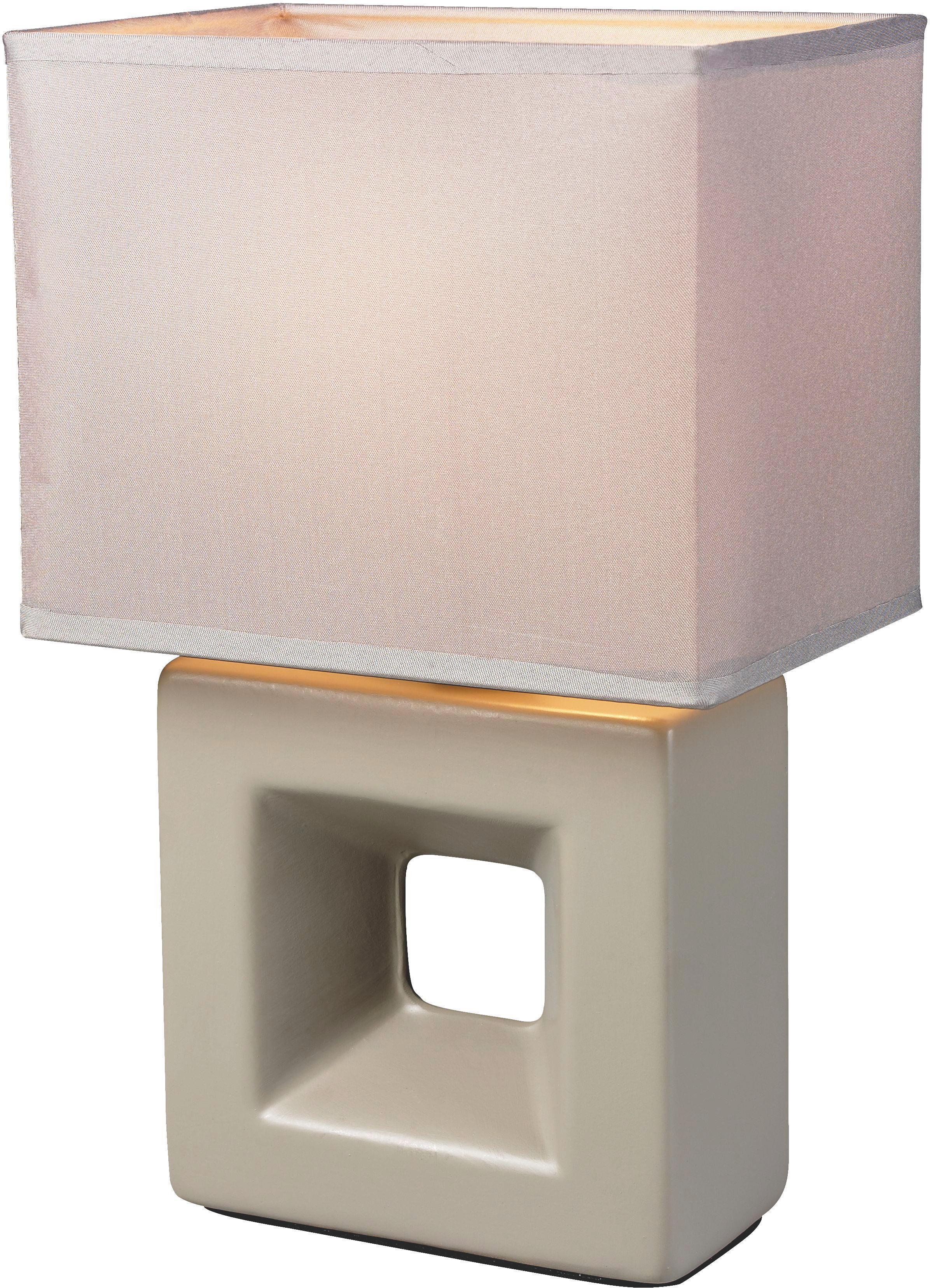 Asztali Lámpa Quadro - szürkésbarna, textil/kerámia (17/12/28cm) - MÖMAX modern living