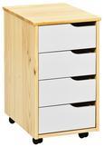 Rollcontainer in Naturfarben - Naturfarben/Weiß, MODERN, Holz/Holzwerkstoff (37/65/45cm) - Zandiara