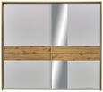 Schwebetürenschrank Weiß/Eichefarben - Eichefarben/Alufarben, KONVENTIONELL, Holzwerkstoff/Metall (258/229/64cm) - Modern Living