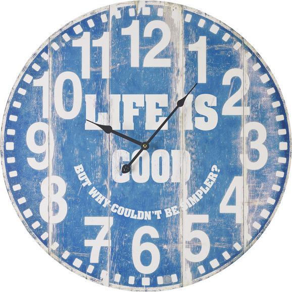 Wanduhr Good Life - Blau/Weiß, MODERN, Holz/Papier (58cm) - Mömax modern living