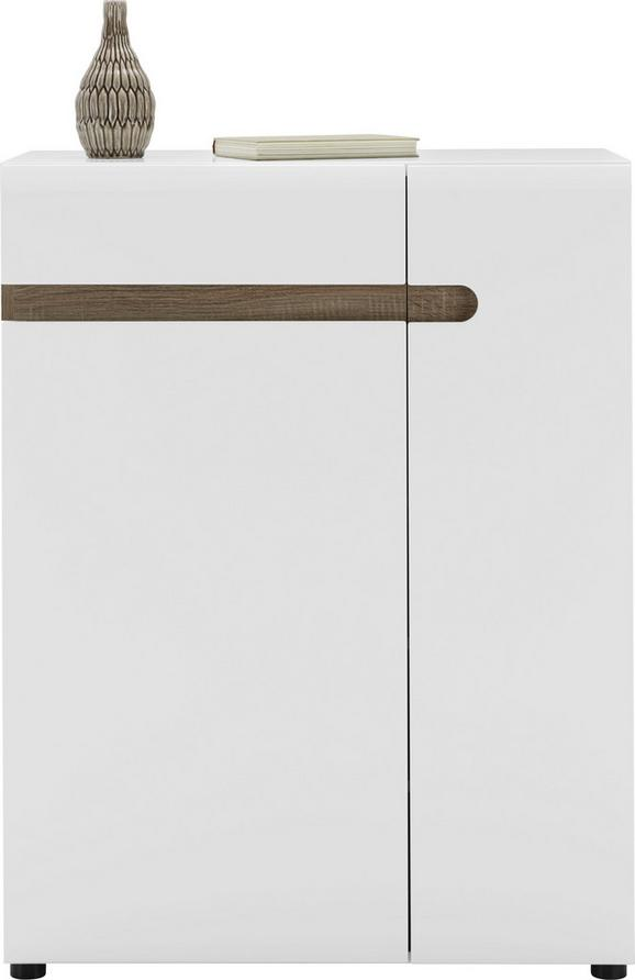 Schuhschrank Weiß Hochglanz/Eichefarben - Eichefarben/Erlefarben, MODERN, Holzwerkstoff (85/111/42cm) - Mömax modern living