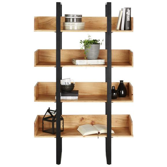 Regal aus Akazie Teilmassiv - Schwarz/Akaziefarben, MODERN, Holz/Metall (90/150/35cm) - Modern Living