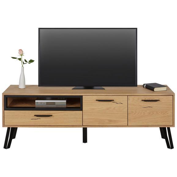 f0a8485f11 TV-Element in Eichefarben Teilmassiv - Eichefarben/Schwarz, LIFESTYLE,  Holz/Holzwerkstoff