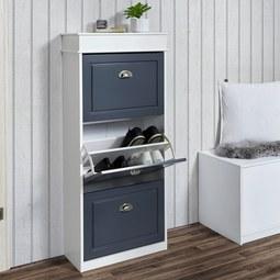 Schuhschrank Clark - Dunkelgrau/Weiß, MODERN, Holz/Metall (53,5/120/24cm) - Modern Living