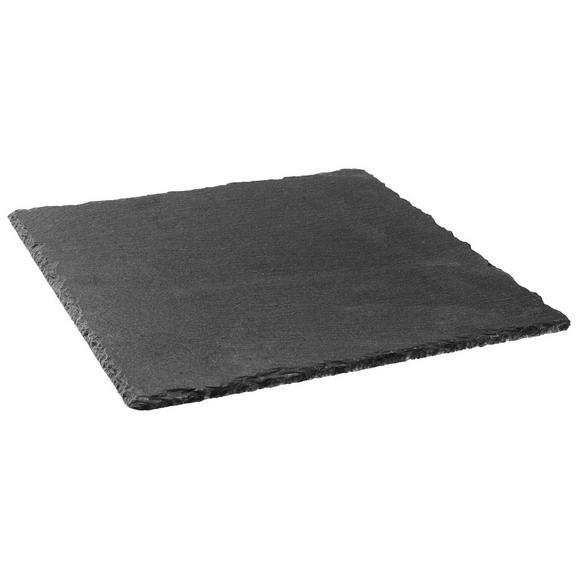 Servierplatte Stoney in Schwarz - Schwarz, MODERN, Kunststoff/Stein (25/25/0,7cm) - Zandiara
