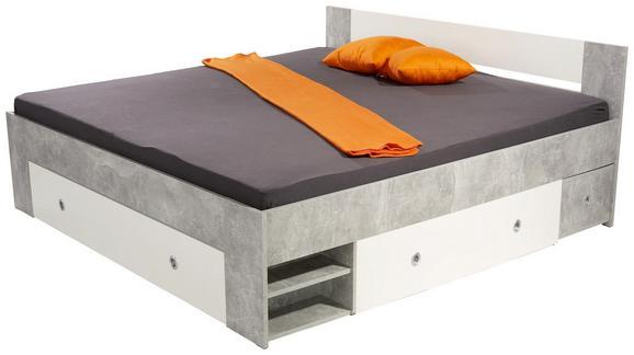 Ágykeret Azurro 180x200cm - világosszürke/fehér, modern, faanyagok (204/75/185cm)