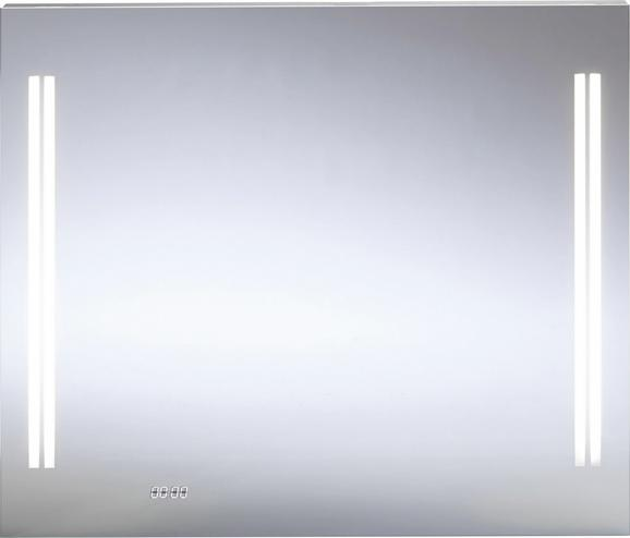 Spiegelelement ca. 80x68x5cm inkl. Led-uhr - MODERN, Glas/Metall (80/68/5cm) - premium living