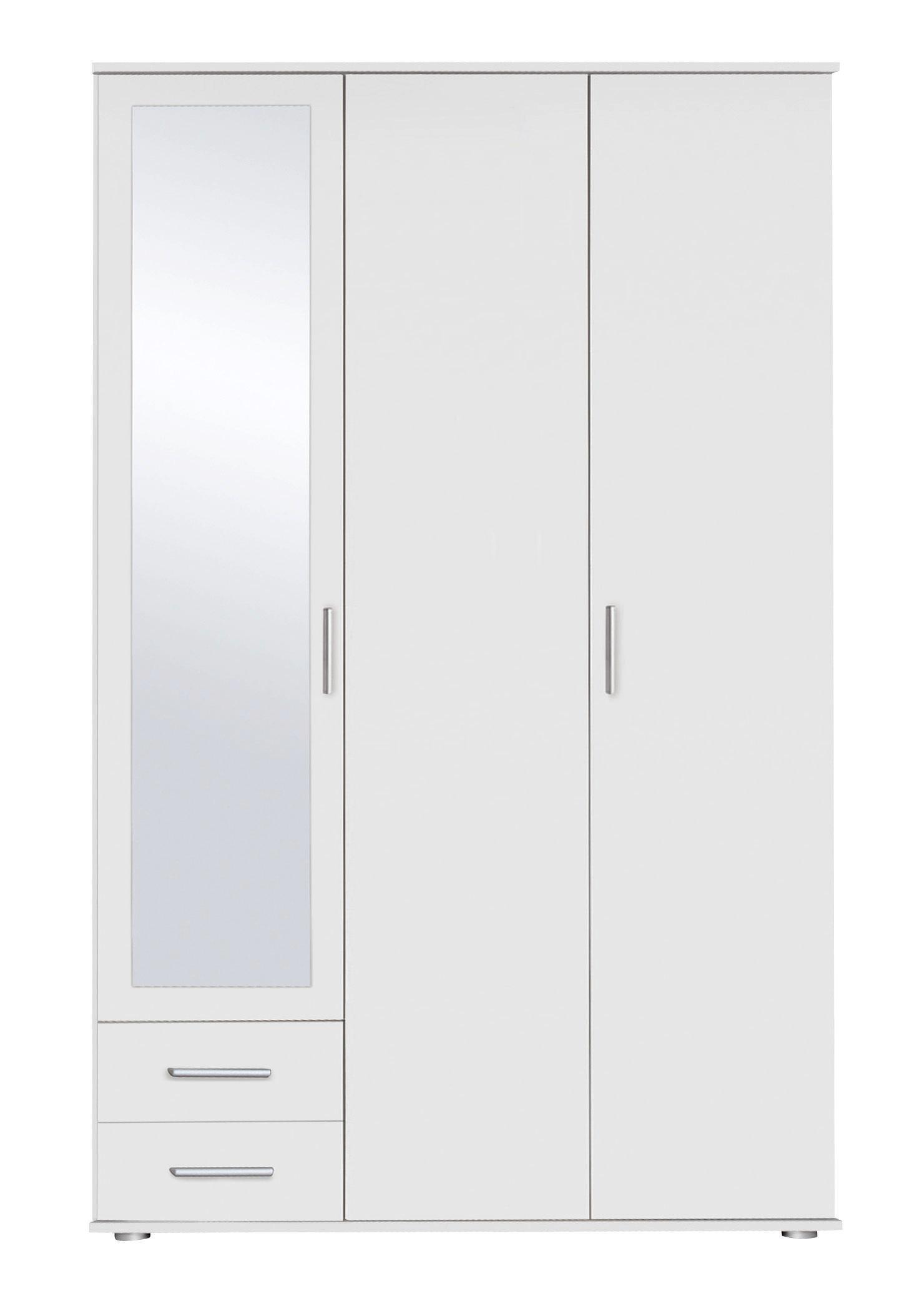 Drehtürenschrank in Alpinweiß - Alufarben/Weiß, MODERN, Holzwerkstoff/Kunststoff (127/188/52cm) - MODERN LIVING
