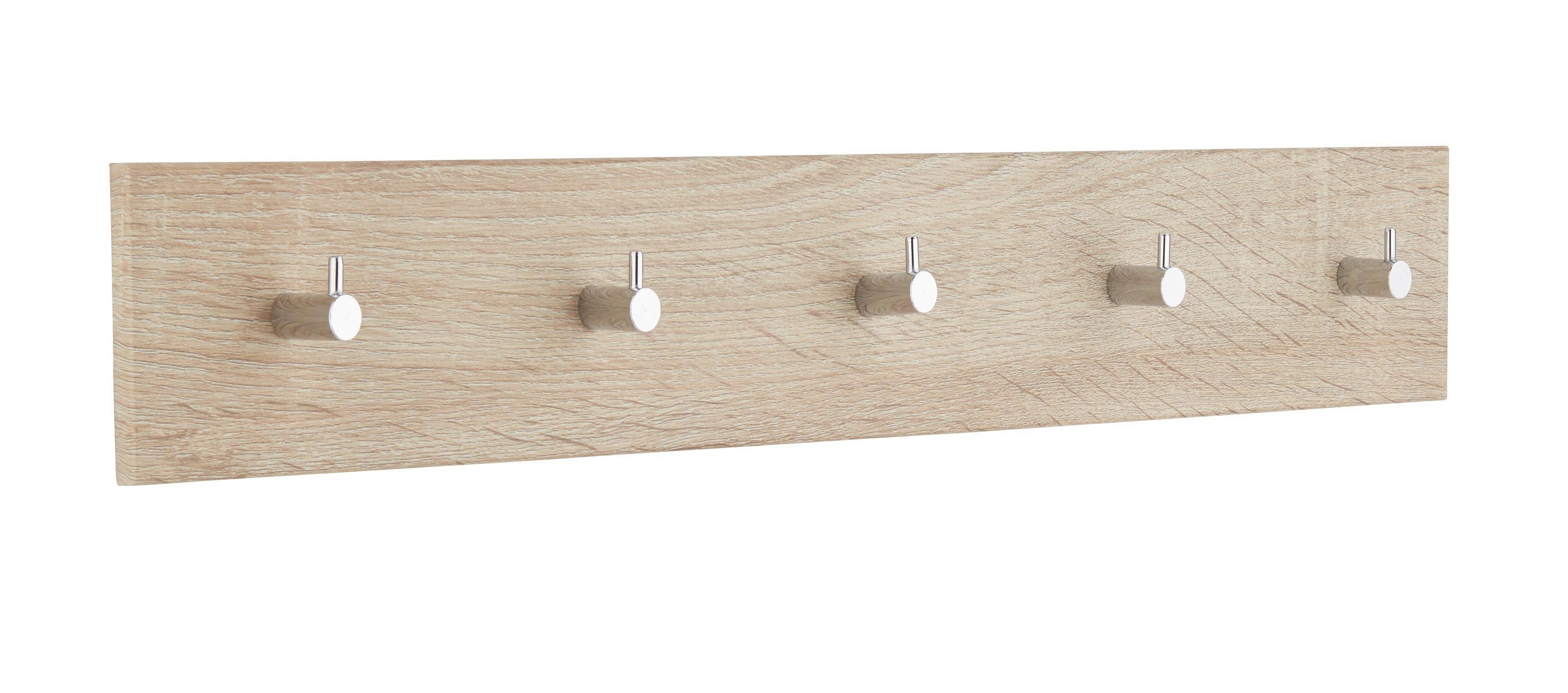 Hakenleiste in Eichefarben, 5 Haken - Eichefarben, Holz/Metall (57/8/5cm) - MÖMAX modern living