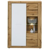 Highboard in Eichefarben - Eichefarben/Silberfarben, KONVENTIONELL, Glas/Holzwerkstoff (91/127/35cm) - Modern Living