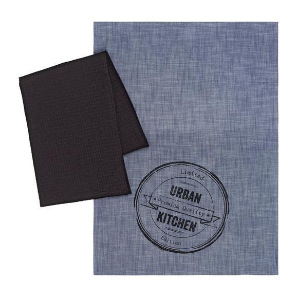 Geschirrtuch-Set Urban in Schwarz und Blau - Blau/Schwarz, MODERN, Textil (50/70cm) - Mömax modern living