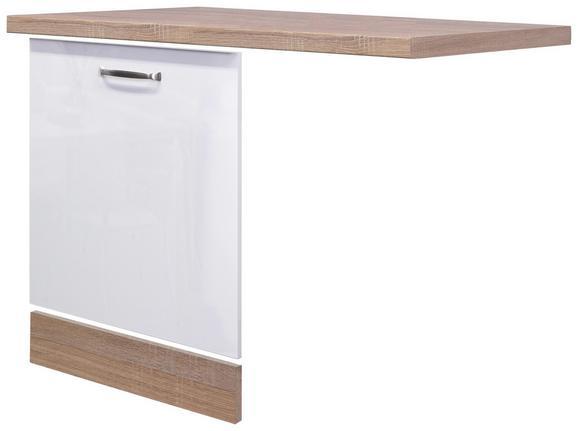 Küchenunterschrank Weiß Hochglanz/Eiche - Edelstahlfarben/Eichefarben, MODERN, Holzwerkstoff/Metall (110/60cm)
