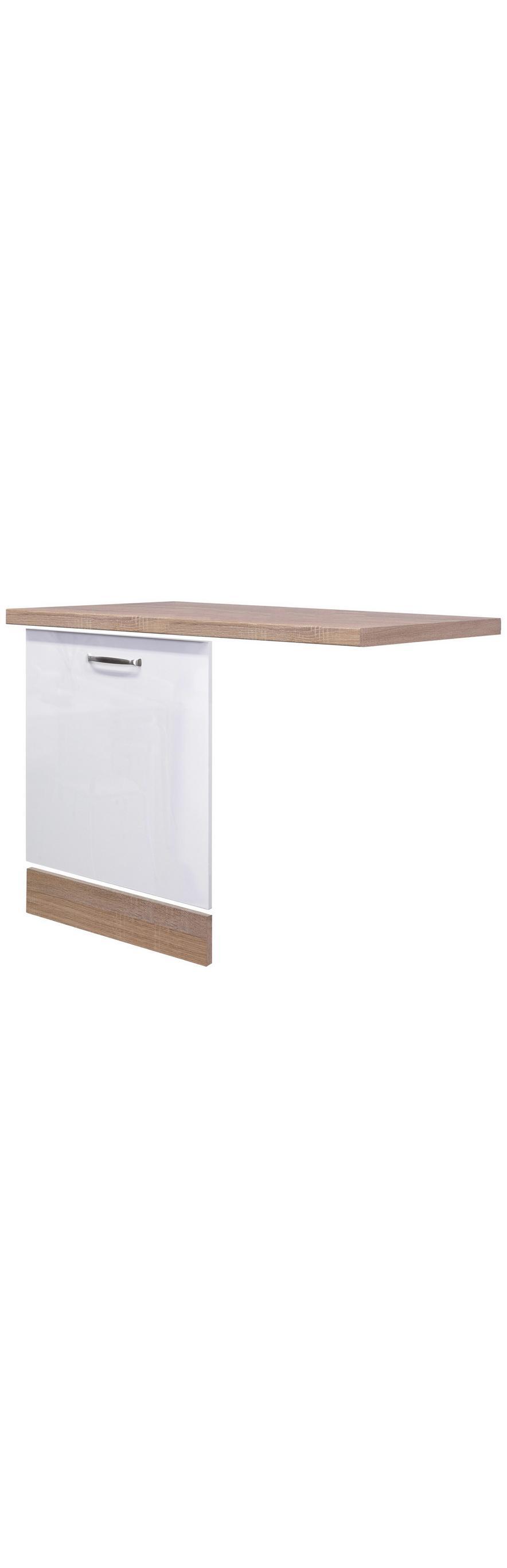 Küchenunterschrank Weiß Hochglanz/Eiche