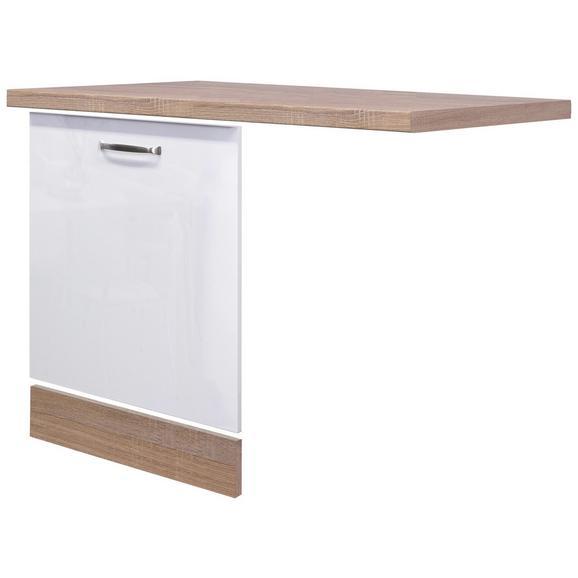 Küchenunterschrank Weiß Hochglanz/Eiche - MODERN, Holzwerkstoff (110cm) - FlexWell.ai