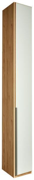 Schrägelement Weiß/Eichefarben - Eichefarben/Alufarben, ROMANTIK / LANDHAUS, Holzwerkstoff/Metall (33/236/58cm) - Premium Living