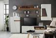 Wohnwand Weiß/Eiche - Eichefarben/Schwarz, MODERN, Glas/Holzwerkstoff (275/170/40cm) - Modern Living