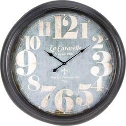 Uhr Bronx in Grau ca.Ø93cm - Dunkelgrau/Hellgrau, MODERN, Glas/Metall (93cm) - Bessagi Home