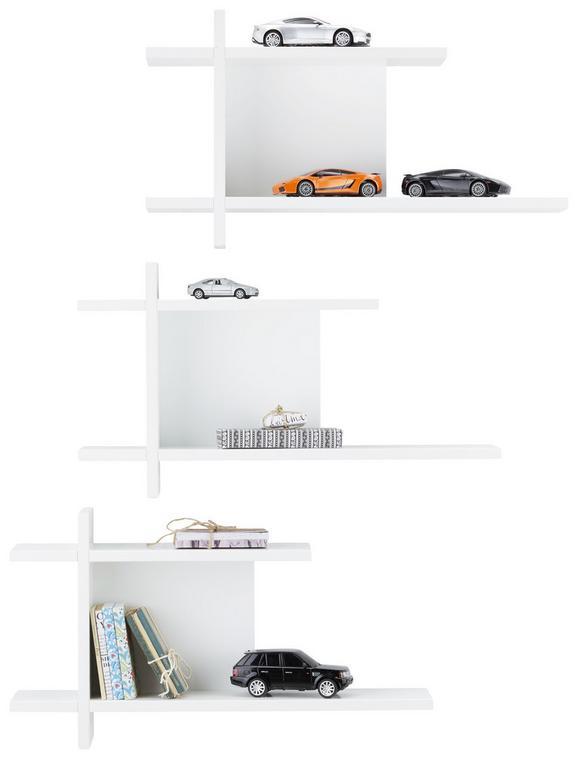Wandregalset in Weiß - Braun/Weiß, MODERN, Holz - Premium Living