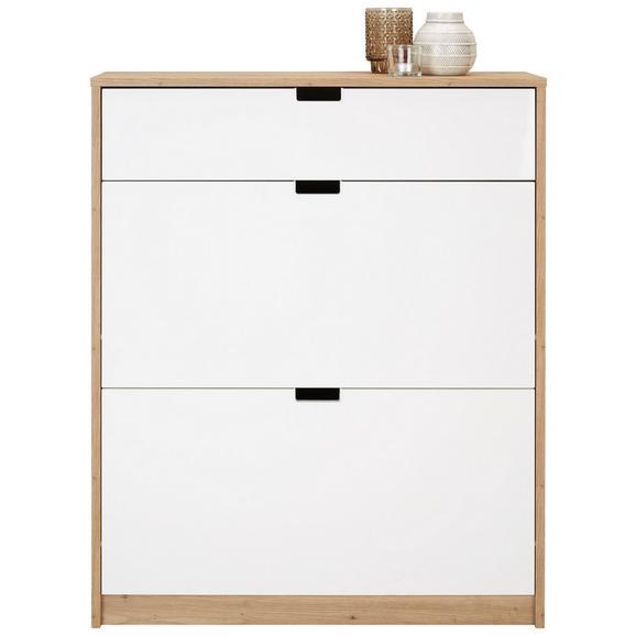 Dulap Pantofi Uși Rabatabile Bela - alb/culoare lemn stejar, Modern, compozit lemnos (79/103/25cm)